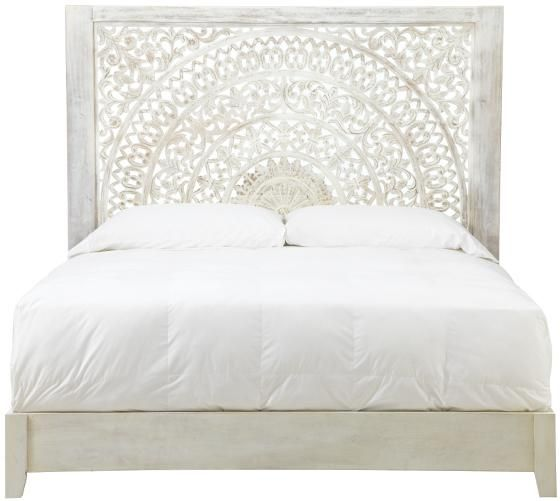 obsessed with this bed so much detail in the headboard its got that standout - White Wood Bed Frame