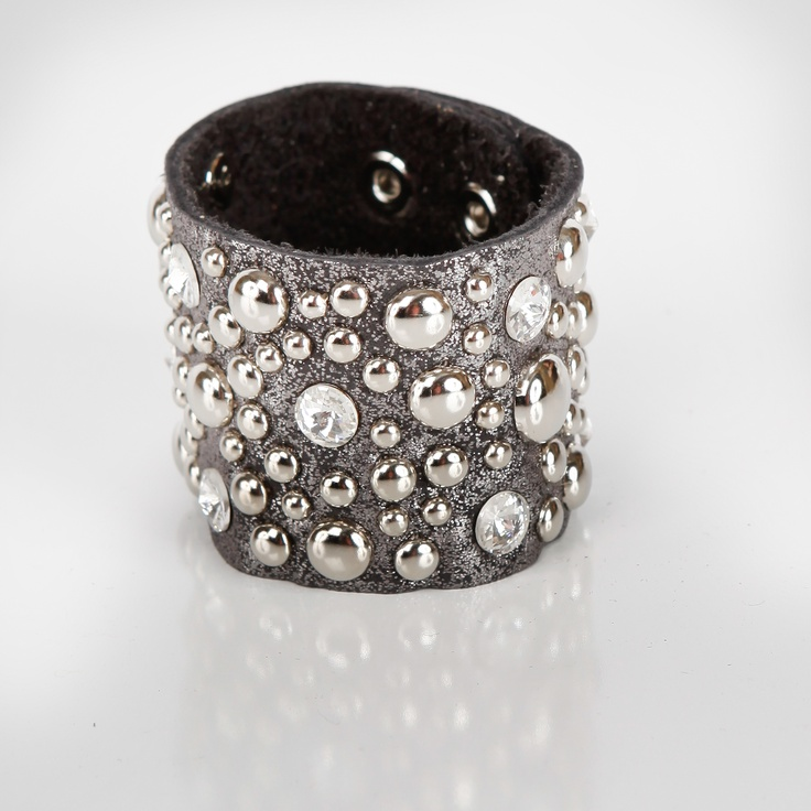 Grey Leather Bracelet with Silver Studs and Clear Rhinestones $30  FaceBook Page:LuckyOneJewelry