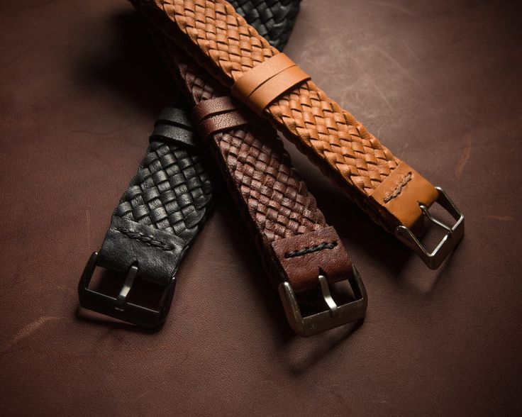 Finishing touches on some plaited kangaroo leather watch straps