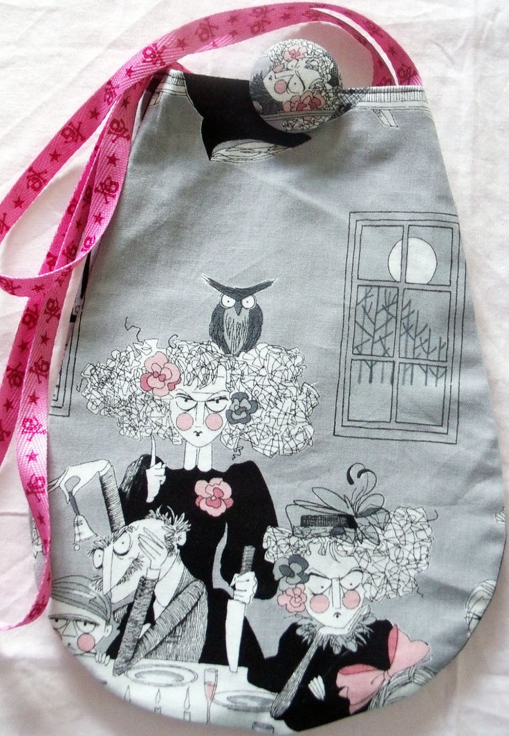 HANDMADE Reversible Tote Bag with Pocket & Button - Smoke Ghastly Night 'n Ghastly. $23.00, via Etsy.