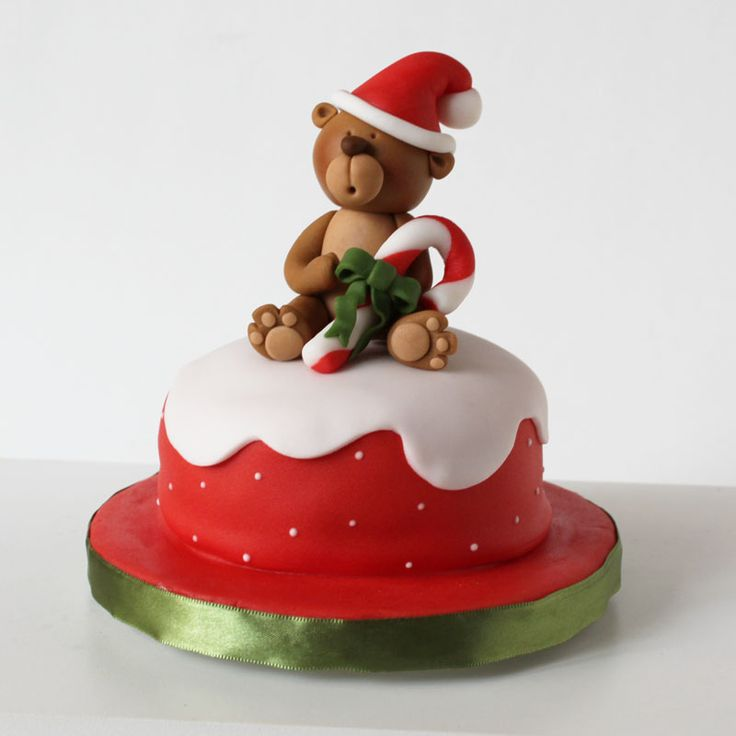 xmas cake with bear and overflow in white