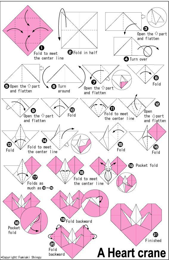 origami heart + crane
