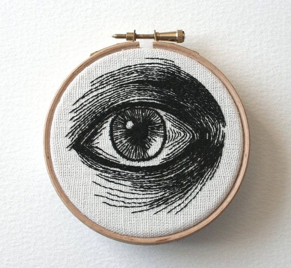 Lovely study of a human eye, hand embroidered original stitched illustration. Black thread on heavy weave cream cotton, ready to hang in it's wooden hoop this work measures approx 4 inches in diameter.