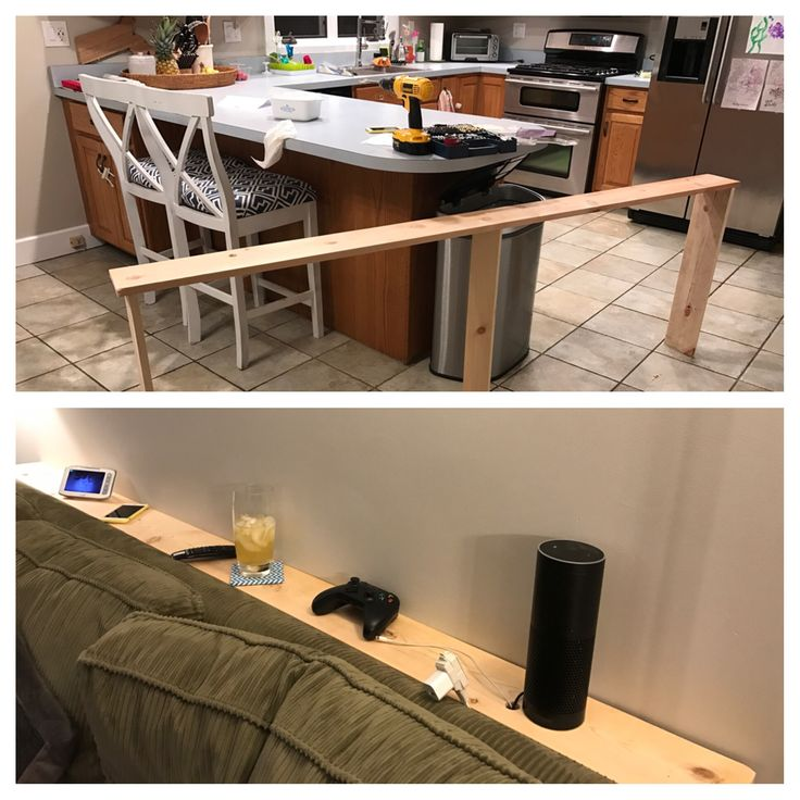 """Super simple """"table"""" for behind the couch. We needed to clear things off the end tables, out of reach of curious little hands. Baby proofing hack! Be sure to drill holes for power cords."""