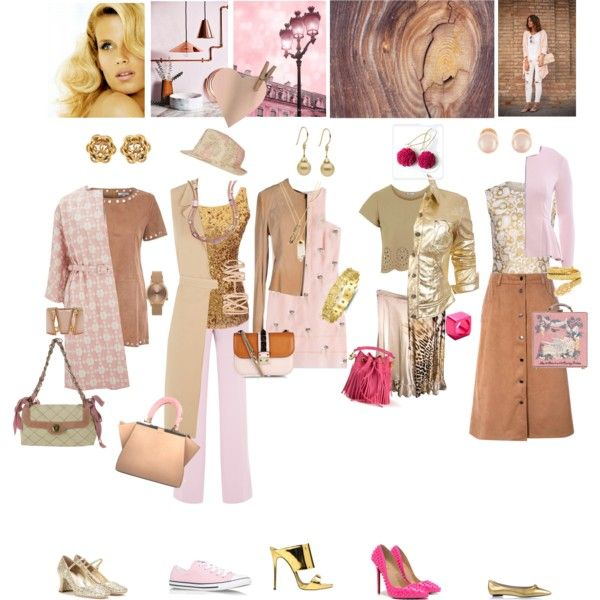 Week in Pink, Gold and Tan by taci42 on Polyvore featuring мода, Fendi, Glamorous, STELLA McCARTNEY, Love, Orla Kiely, Influence, Moschino, Coast + Weber + Ahaus and AX Paris
