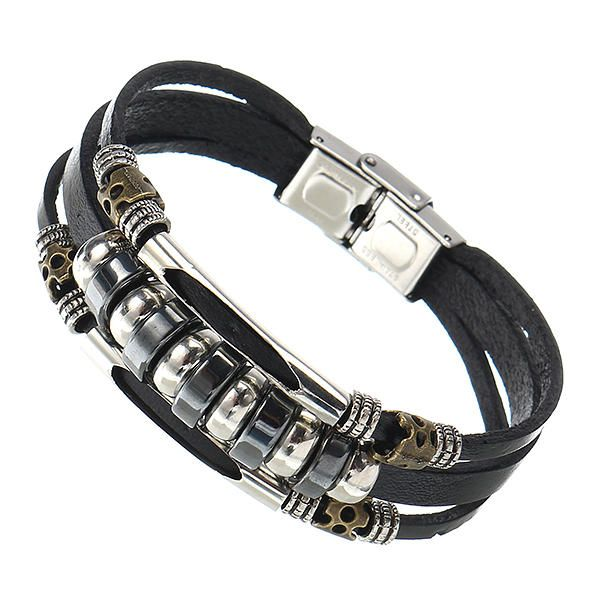 Leather Stainless Steel Men Bracelet Jewelry at Banggood