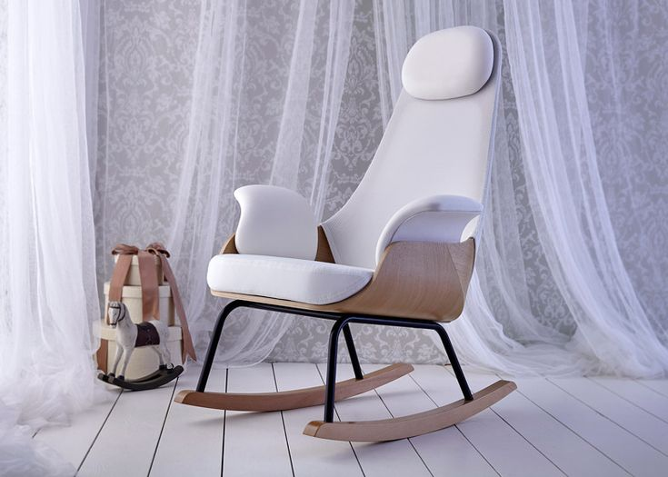 Alegre Design puts new spin on traditional breastfeeding chair | Spanish agency Alegre Design has redesigned a rocking chair traditionally used by new mothers to breastfeed and lull their babies to sleep, changing the basic form and adding breathable fabric supports