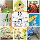 20 FUN Activities For March Break...Lots of great crafts for kids, I love the 11 seedling ideas for Spring and making shaped bird feeders!