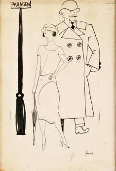 """Desenho de Almada Negreiros, """"Paragem"""", tinta da China sobre papel, sem data."""