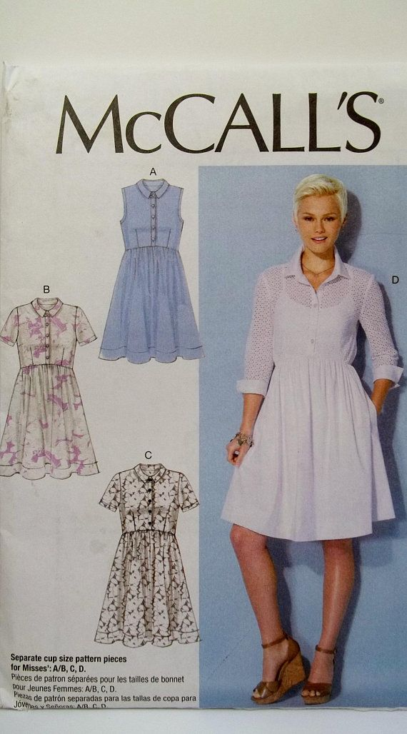Plus Size Misses\'s Collared Dress McCall\'s M7314 Sewing Pattern ...