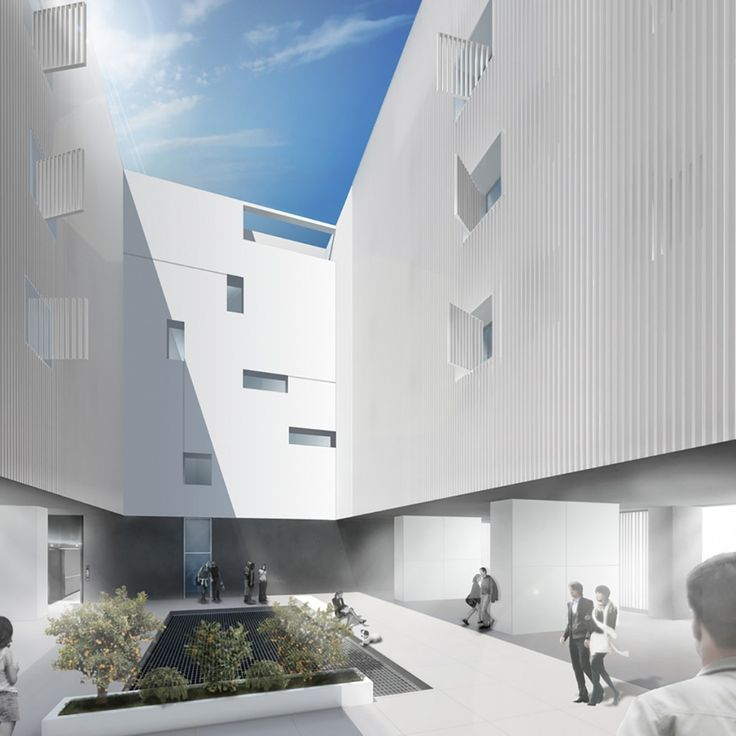 rendering of the courtyard #residence #commercial #brisesoleil #suspended #facade #light #sunny #publicspace
