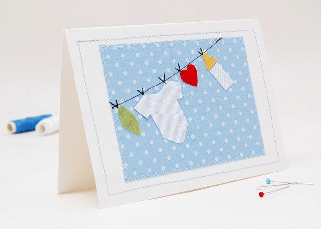Textilkarte zur Geburt,Taufe ect. von Josefines Kinder auf DaWanda.com