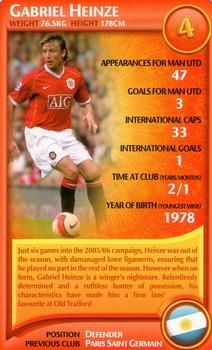 2007 Top Trumps Specials Manchester United #NNO9 Gabriel Heinze Front