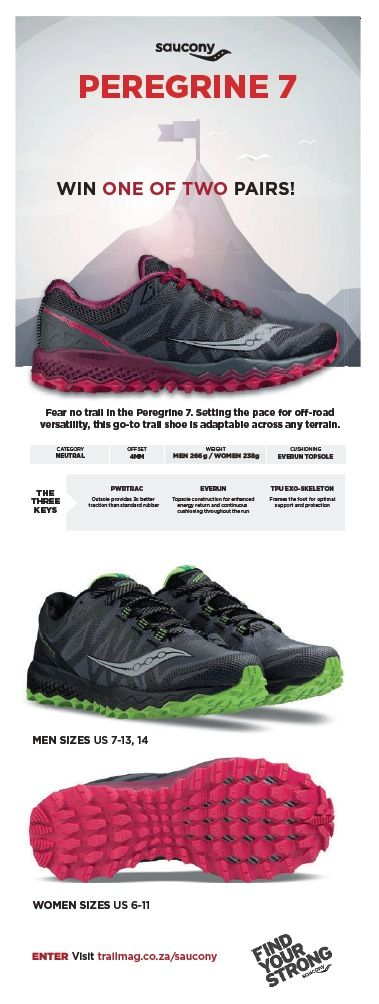 Win one of two pairs of Saucony Peregrine 7 trail shoes, worth R2,300! The more you enter, the better your chances. Competition closes at midday on 23 June 2017.