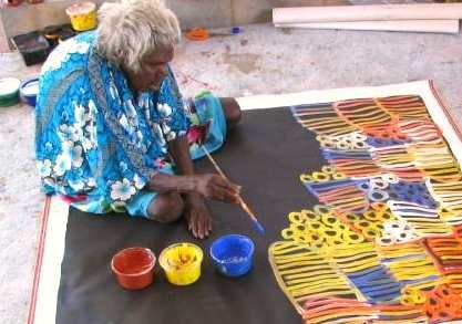 Minnie Pwerle (1910 - 2006) was an Australian Aboriginal artist. She started painting on canvas at 80+ yrs old & is one of Australia's top 50 collectible artists.
