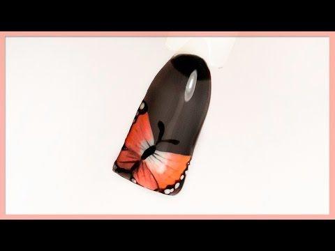 Дизайн ногтей бабочка и черная вуаль гель-лаком. Роспись гель-лаками, крутой маникюр - YouTube