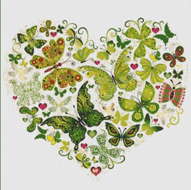 Green Butterfly Heart Cross Stitch Pattern