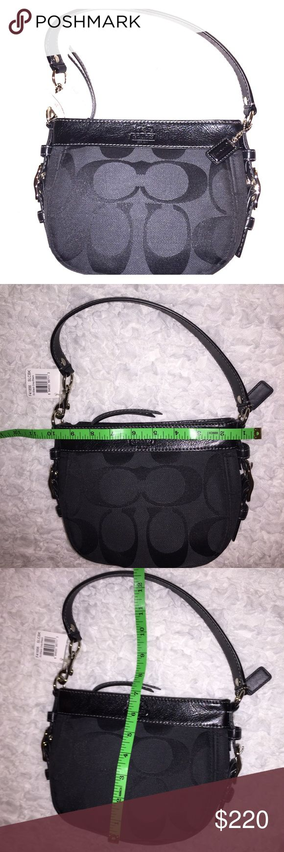 NEW! NWT Authentic Little Black Coach Purse Bag This is super cute! I think it's literally 10 years old but still brand new!! Zero flaws! It's just been sitting in my closet all these years and figured I'd sell it. Color is dark gray and black. Style name is Zoe based on what it says on the tag. 100% Authentic Coach Purse. Brand new with tags! I have another Coach purse and some key chains I'll be listing as well before the Holidays. Excellent gift idea for you or someone else. I'll lower…