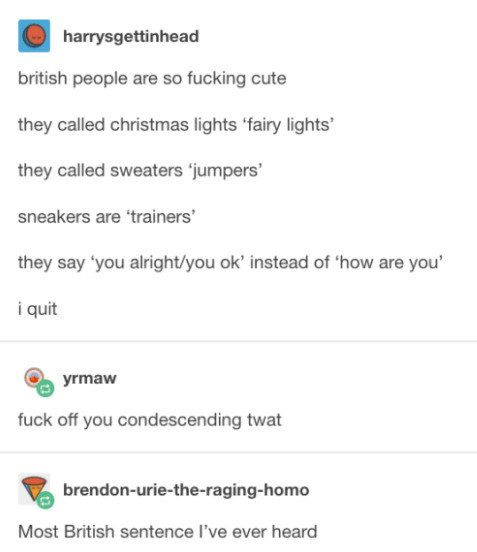"""""""Fuck you my Yorkshire accent shines like the light of a thousand suns, I hope you get sat on by a cow."""""""