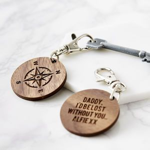 Personalised Wooden Compass Father's Day Keyring - men's accessories
