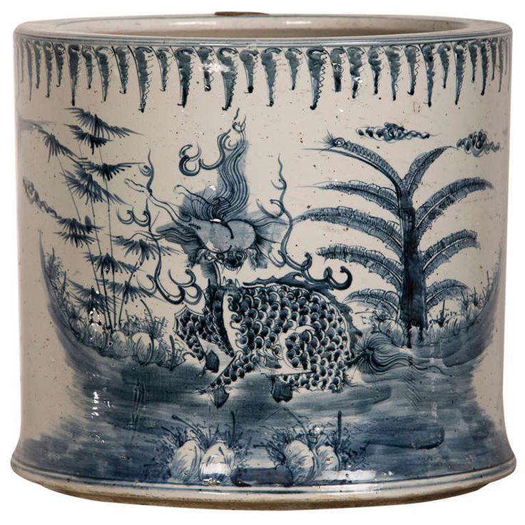 Large Glazed Blue and White Porcelain Fishbowl, China ca. 1875 #ModernsPIN