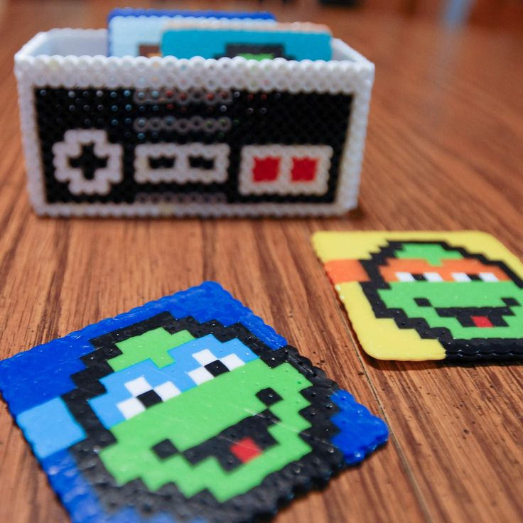 DIY Ninja Turtle 8-bit Coasters using perler beads | domesticated-engineer.com