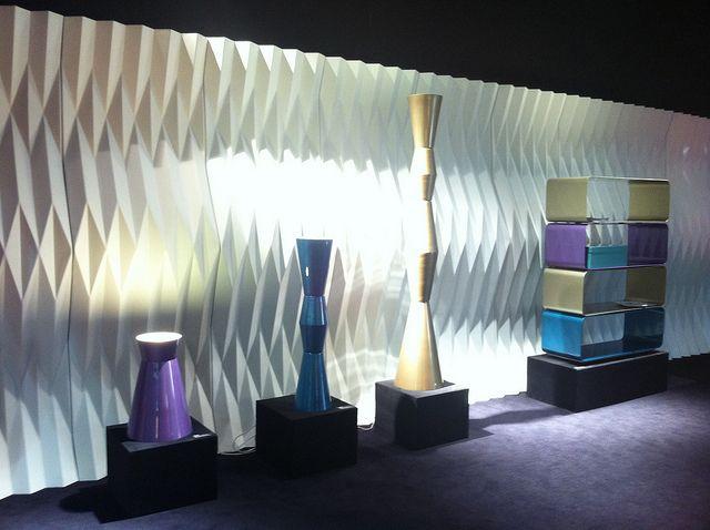 #plisse room divider and #icona box design by @Moschino, and #ulus lamps and #brera bookcase by Marco Piva for #altreforme at Salone del Mobile 2012 #interior #home #decor #homedecor #furniture #aluminium