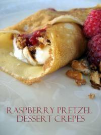 Raspberry Pretzel Dessert Crepes are a family favorite recipe!