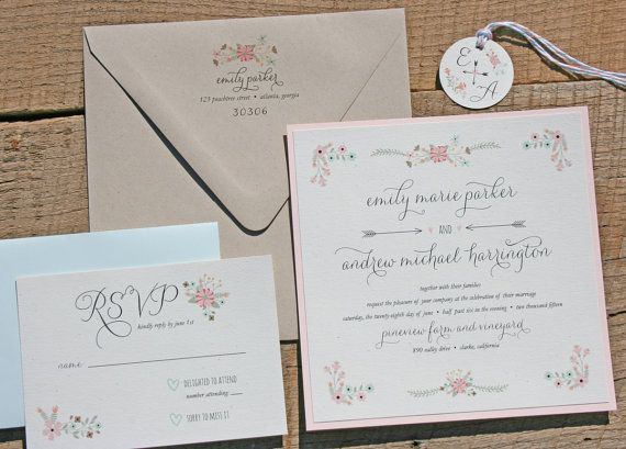 Mint And Blush Wedding Invitation Set By TigerLilyInvitations