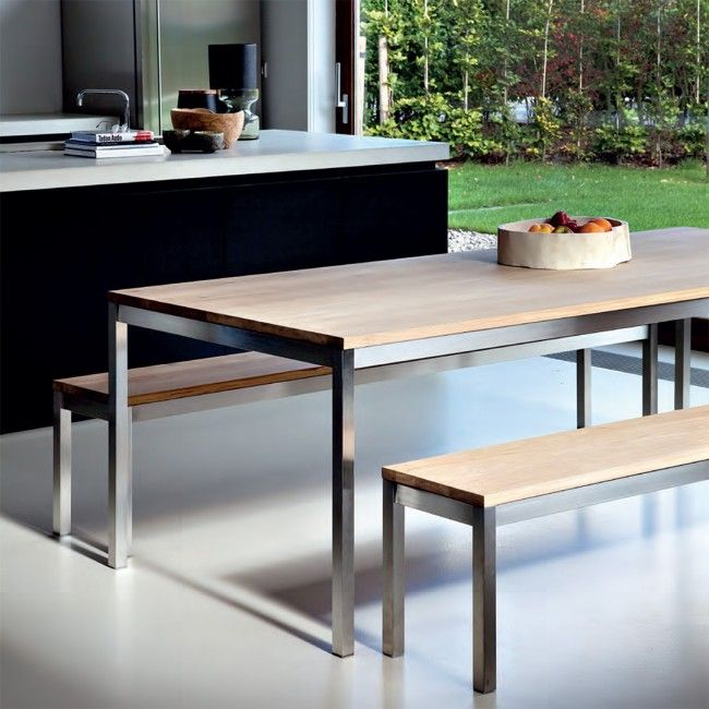 Ethnicraft Oak Basic Stainless Dining Table