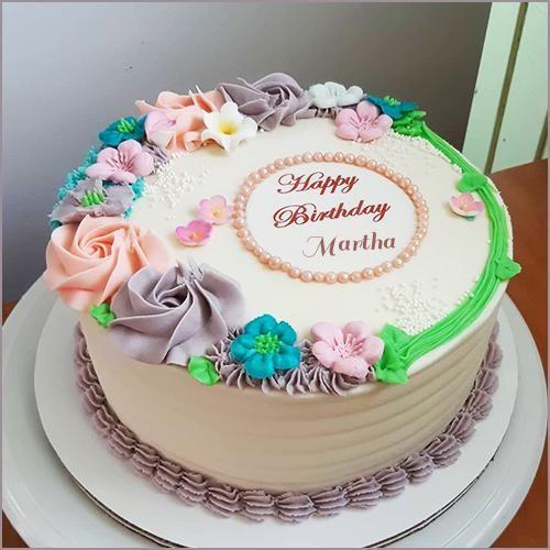 write name on simple flower fondant cake  birthday cake