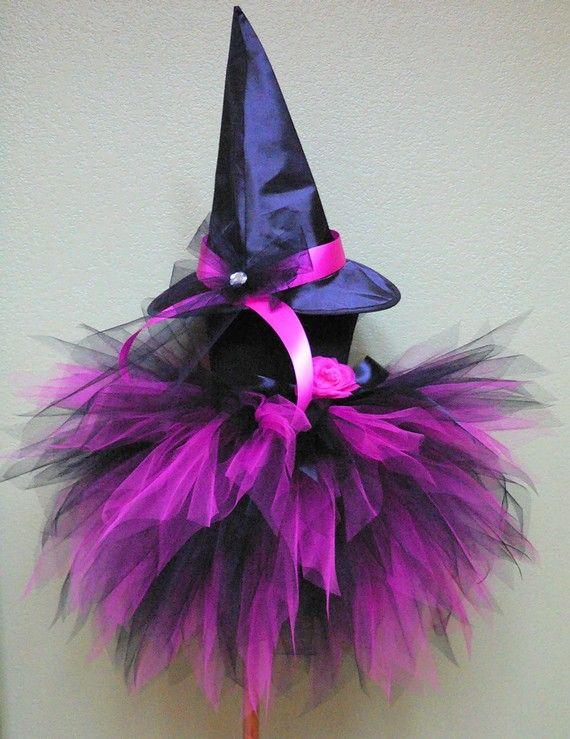 Halloween Witch Tutu Costume  Fuchsia Pink Black by TiarasTutus, $60.00