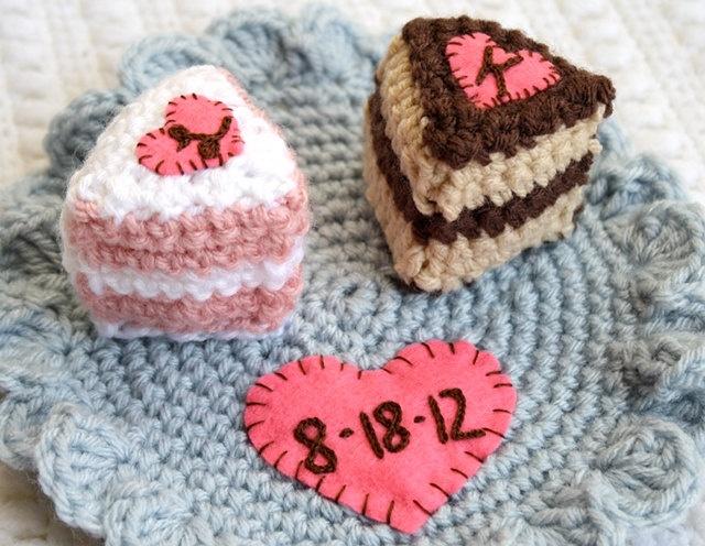 Custom Bride & Groom Crochet Wedding Cake Slices. $50.00, via Etsy.