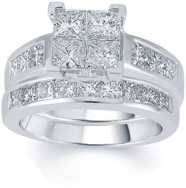 Jcpenney Modern Bride 3 Ct T W Diamond 14k White Gold Quad Princess Bridal R White Gold Diamond Rings Jcpenney Fine Jewelry Princess Diamond Engagement Rings
