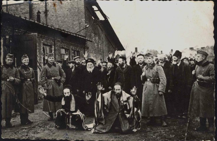 Tarnow/Lukow, Poland, German soldiers humiliating Jews, probably in autumn 1942.