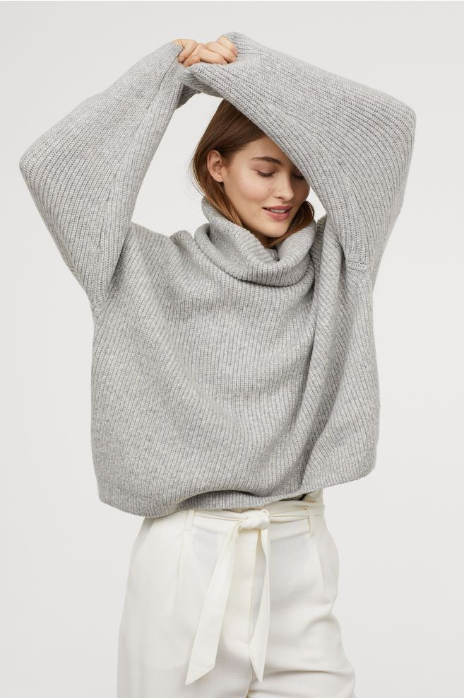 c77c605878cdf7 Ribbed Turtleneck Sweater - Light gray melange - Ladies | H&M US 2