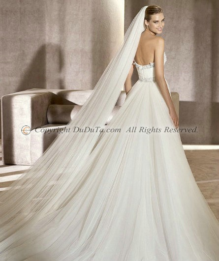 A-line Strapless Sleeveless Sweep Empire Wedding Dresses With Beading, bridal gowns, bridal gown, bridal wedding dresses