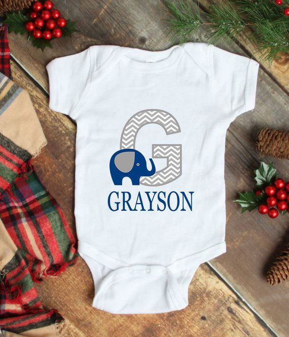 78756766b Elephant Baby One Piece Bodysuit Navy Blue Personalized Baby Boy Outfit  Baby Shower Gift Newborn Infant One-Piece Body Suit Baby Clothes 110