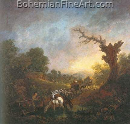 Thomas Gainsborough, Sunset: Carthorses Drinking at a Stream Fine Art Reproduction Oil Painting