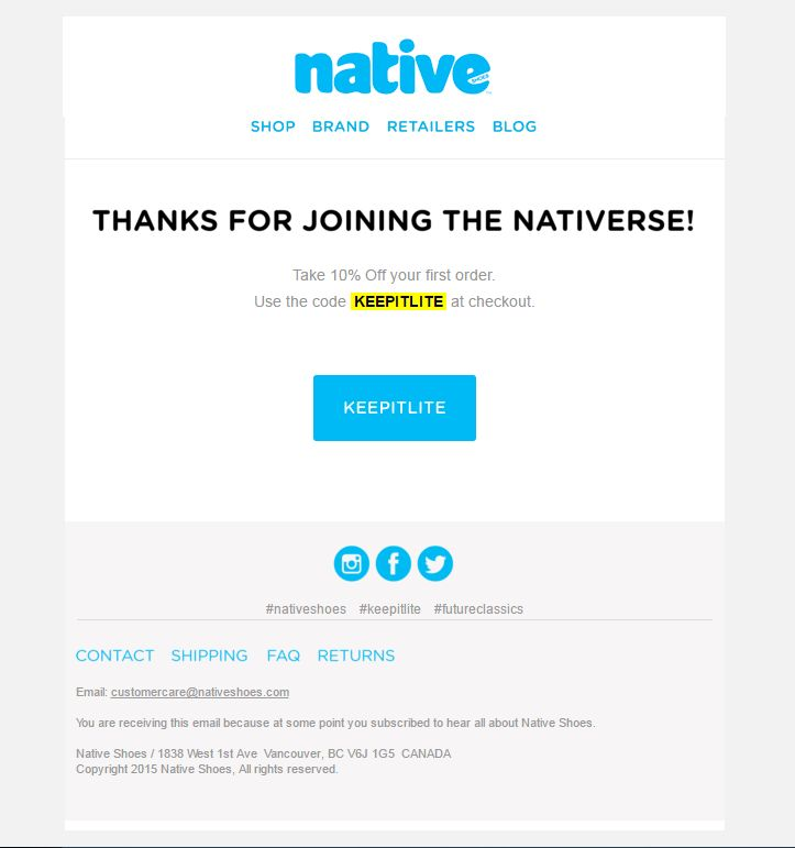 Native shoes coupon code