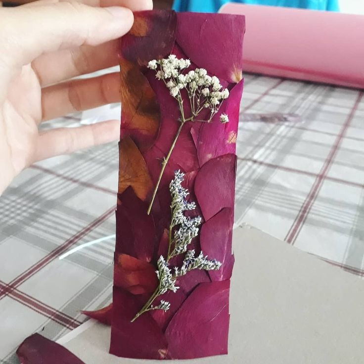 Pressed rose petals bookmark. Used tacky glue then