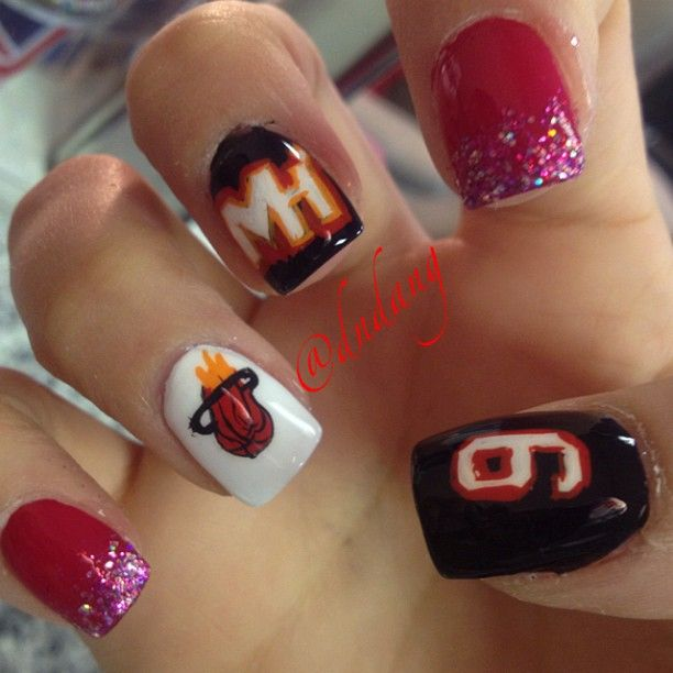 My Miami Heat Nails! Go Heat! | Nails Nails Nails | Pinterest ...