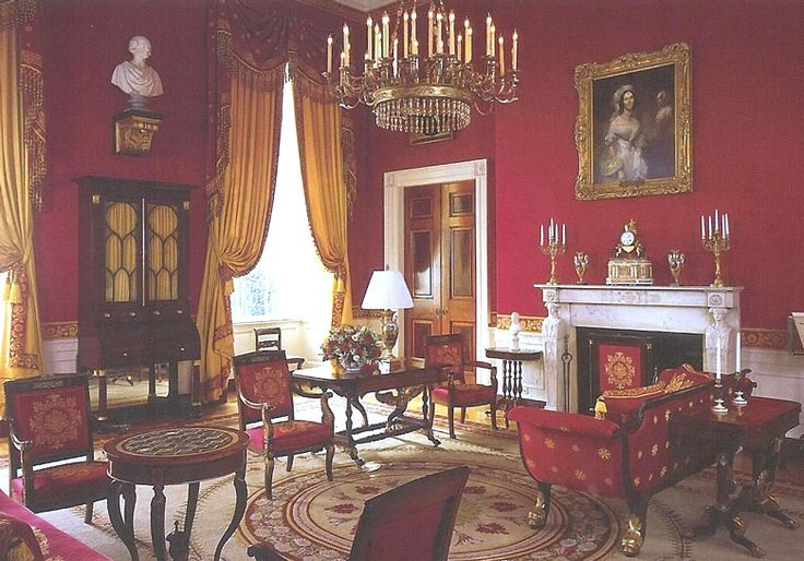 White House Red Room is furnished in the Empire style of 1810-30, the Red Room is one of the four state reception rooms at the White House.