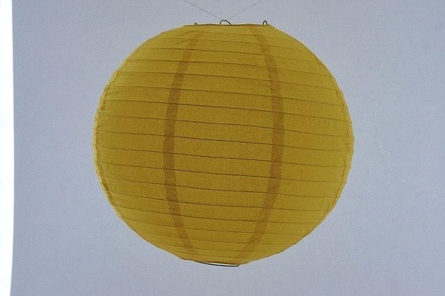Lanterna di carta di riso da appendere, colore Gialla 30 cm, con gancio.