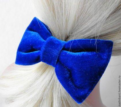 Резинка для волос с бантом Синий Бархат - тёмно-синий,синий,ярко-синий