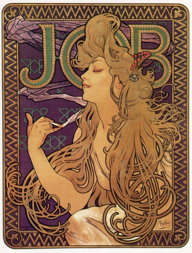 La célèbre affiche de Mucha pour le papier à cigarettes JOB. (1898)
