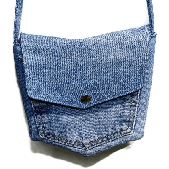 Recycled Blue Denim Pocket Bag.  via Etsy.                                                                                                                                                                                 Más
