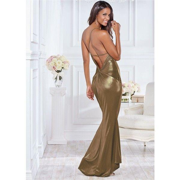 Venus Women's Back Detail Formal Dress ($45) ❤ liked on Polyvore featuring dresses, metallic, spandex dress, maxi dresses, metallic formal dresses, metallic maxi dress and formal occasion dresses