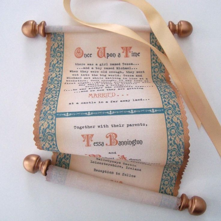cinderellthemed wedding scroll invitations%0A Scroll wedding invitations with medieval castle theme on cotton fabric in  copper and teal  set