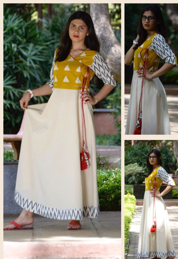 Offwhite Cotton long kurta with Ikat yoke and sleeves.